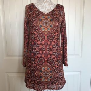 Judith March Aztec Print Bell Sleeved Tunic Dress